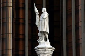 A statue of Christopher Columbus stands at the Plaza Colon in Madrid. Photo: Denis Doyle/Bloomberg