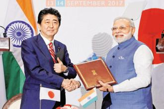 Prime Minister Narendra Modi and his Japanese counterpart Shinzo Abe at the 12th India Japan annual summit held in Gandhinagar last week. Photo: PTI