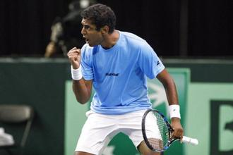 India's Ramkumar Ramanathan celebrates a point against Canada's Brayden Schnur during their Davis Cup match in Edmonton, on Friday. Photo: AP