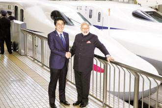 Prime Minister Narendra Modi (right) with his Japanese counterpart Shinzo Abe. Photo: Reuters