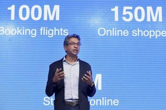 Google India vice-president Rajan Anand at the launch of the firm's Tez payments app on Monday. Photo: PTI