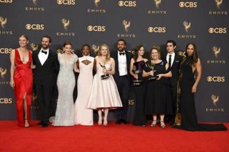 Based on the dystopian novel by Margaret Atwood, 'The Handmaid's Tale' won Best Drama Series, Best Actress for Moss, Best Direction, Best Supporting Actress for Ann Dowd and Best Writing. Photo: AP