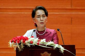 Myanmar state counselor Aung San Suu Kyi delivers a speech to the nation over Rakhine and Rohingya situation, in Naypyitaw, Myanmar on Tuesday. Photo: Reuters