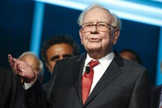 Warren Buffett said he expects the Dow Jones Industrial Average to be 'over 1 million' in 100 years, up from Tuesday's close of 22,370.80. Photo: AP