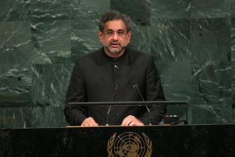 Pakistan's prime minister Shahid Khaqan Abbasi addresses the UN General Assembly at the United Nations in New York on Thursday. Photo: AFP