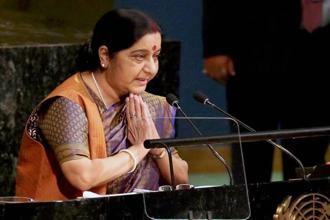 Foreign minister Sushma Swaraj, in her UNGA speech, pointed out that India has built premier educational institutions while Pakistan has created terrorist organizations such as LeT. Photo: PTI