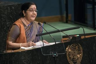 In her address to the 72nd UN General Assembly session, foreign minister Sushma Swaraj also reminded Pakistan that under the Shimla Agreement and the Lahore Declaration, India and Pakistan resolved to settle all outstanding issues bilaterally. Photo: AP
