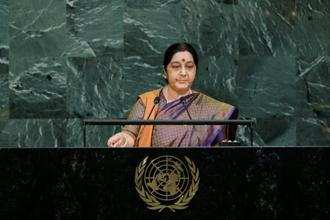 External affairs minister Sushma Swaraj addresses the 72nd United Nations General Assembly at UN headquarters in New York, US. Photo: Reuters
