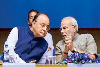 Prime Minister Narendra Modi and finance minister Arun Jaitley. Modi has reconstituted the Prime Minister's Economic Advisory Council, to revive India's GDP growth. Photo: Praveen Negi/India Today Group