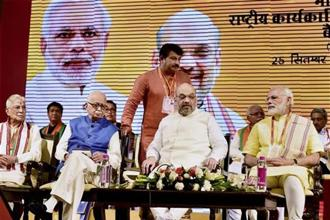 Prime Minister Narendra Modi with BJP president Amit Shah and senior party leaders L. K. Advani, M. M. Joshi and Manoj Tewari at BJP's national executive meeting at the Talkatora stadium, in New Delhi on Monday. Photo: PTI