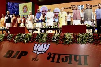 Prime Minister Narendra Modi, BJP president Amit Shah, along with other senior leaders at the party's national executive meeting at Talkatora stadium, in New Delhi on Monday. Photo: PTI