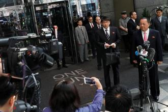North Korean foreign minister Ri Yong-ho speaks to the media outside the Millennium hotel in New York on 25 September 2017. Photo: Shannon Stapleton/Reuters