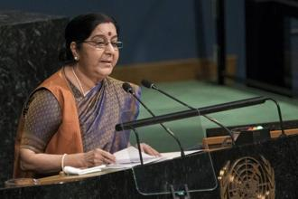 External affairs minister Sushma Swaraj addressed the United Nations General Assembly on Saturday. Photo: PTI
