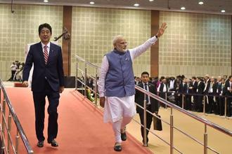 Japan's Prime Minister Shinzo Abe on 14 September inaugurated India's first bullet train project—a $19 billion line in Gujarat—home state of PM Narendra Modi, intended to revitalise the country's vast but dilapidated network. Photo: AFP