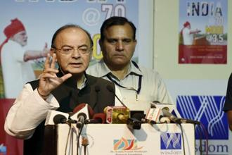 Finance Minister Arun Jaitley at the release of the book 'India @ 70 Modi @ 3.5' in New Delhi on Thursday. Photo: PTI