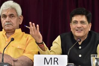 Railway minister Piyush Goyal (right) with Mos Railway Manoj Sinha at a press conference in New Delhi on Thursday. Photo: PTI