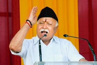 RSS chief Mohan Bhagwat in his Vijay Dashmi speech on Saturday reiterated the need for preserving social harmony and the importance of dialogue and eschewing of violence in the name of religion. Photo: PTI