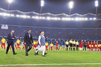 Prime Minister Narendra  Modi at the opening ceremony of the U-17 FIFA World Cup at Jawaharlal Nehru Stadium in New Delhi on Friday. Photo: PTI