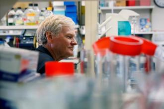 Michael W. Young, a joint winner of the 2017 Nobel prize in medicine, poses for a portrait in one of his labs at The Rockefeller University in New York. Photo: Reuters