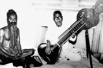 Parvatikar (left) teaching music to Rajendra Prasad. Photo: Courtesy Pramila Deshmukh