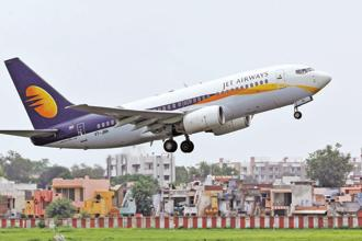 A Jet Airways aircraft takes off from the Ahmedabad airport . File photo: Reuters