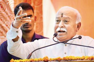 RSS chief Mohan Bhagwat. The three-day Bhopal meeting will see limited participation of RSS affiliates, for whom another meeting will be held in March next year. Photo: PTI