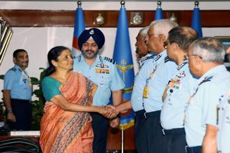 Union defence minister Nirmala Sitharaman interacting with IAF commanders during a conference in New Delhi on Tuesday. Photo: PTI