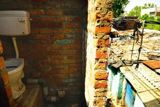 A toilet built in a slum in Geeta Colony, Delhi. Photo: Pradeep Gaur/Mint