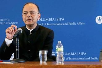 Finance minister Arun Jaitley during a conversations at School of International Public Affairs of Columbia University in New York on Tuesday. Photo: PTI