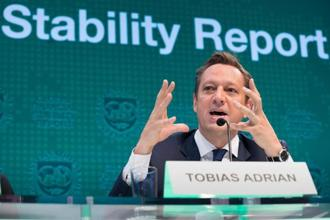 IMF financial counsellor and director Tobias Adrian answers questions at the Global Financial Stability Report press conference on Wednesday at the IMF headquarters in Washington, DC. Photo: AFP