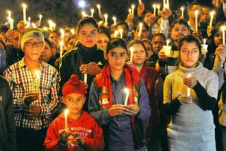 Children at a candle march in February 2016 after a six-year-old student was found dead in a water tank on Delhi's Ryan International School campus. Photo: S. Burmaula/Hindustan Times