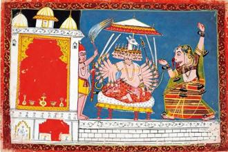 Surpanakha, with a bleeding nose, reaches Ravan, Malwa style, Central India, mid 17th century. Photo: Twitter@NMnewdelhi