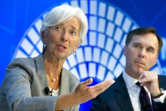 IMF managing director Christine Lagarde speaks during a Global Economy debate in the sidelines of the World Bank/IMF Annual Meetings in Washington on Thursday. Photo: AP