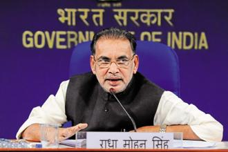 A file photo of agriculture minister Radha Mohan Singh. Photo: Hindustan Times