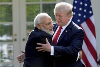 Rahul Ganhdi's remarks were in reference to the visible bonhomie between Donald Trump and Narendra Modi with the two leaders exchanging hugs during the prime minister's last visit to the US. Photo: AP