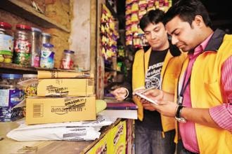 Amazon acquisitions in India include Westland Books and a 5% stake in Shoppers Stop. It also has a tie-up with Dabur India for ayurvedic products. Photo: Pradeep Gaur/Mint