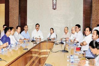 West Bengal CM Mamata Banerjee holding an all party meeting regarding Darjeeling issues with Board of Administrator for Darjeeling, chairman and GJM rebel leader Binay Tamang and others in Kolkata on Monday. Photo: PTI