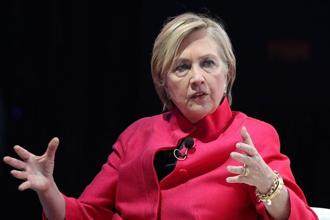 Former US secretary of state Hillary Clinton speaking at the World Knowledge Forum in Seoul on Wednesday. Photo: AFP