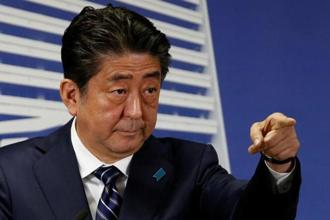 Japan's Prime Minister Shinzo Abe, who is also leader of the Liberal Democratic Party, attends a news conference at party headquarters in Tokyo on Monday. Photo: Reuters