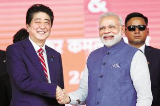 File photo. Prime Minister Narendra Modi and his Japanese counterpart Shinzo Abe share a great relationship and have met several times over the last three years. Photo: Reuters