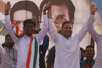 Congress vice president Rahul Gandhi (right) and OBC leader Alpesh Thakor during a rally in Gandhinagar on Monday. Photo: AP