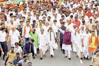 The Jana Raksha Yatra began on 3 October with BJP national president Amit Shah leading a pedestrian march through Kannur district. Photo: Hindustan Times