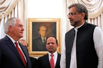 US secretary of state Rex Tillerson (right) with Pakistan PM Shahid Khaqan Abbasi in Islamabad on Tuesday. Photo: AFP