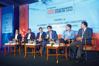 (From left) Dhanpal Jhaveri, managing partner (private equity), Everstone Capital; Sanjay Kukreja, managing director and partner, ChrysCapital Advisors; Sunish Sharma, managing partner, Kedaara Capital Advisors; Yogesh Singh, partner, Trilegal; Vikram Hosangady, partner and head (advisory practice), KPMG; and Girish Deshpande, senior vice-president (M&A and private equity), IDBI Capital Markets and Securities during a panel discussion at the Mint Dealmakers Forum 2017 in Mumbai. Photo: Abhijit Bhatlekar/Mint