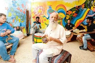 Theatreperson and activist Prasanna (centre) and musicians at a practice session at Agnii's jam pad in Bengaluru. Hemant Mishra/Mint