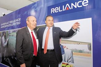 Reliance Group chairman Anil Ambani (right) and Dassault CEO Eric Trappier after laying the foundation stone for Dhirubhai Ambani Aerospace Park in Nagpur on Friday. Photo: PTI
