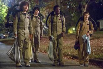 This image released by Netflix shows (from left) Gaten Matarazzo, Finn Wolfhard, Caleb McLaughlin and Noah Schnapp in a scene from 'Stranger Things' premiering its second season on Friday. Photo: AP