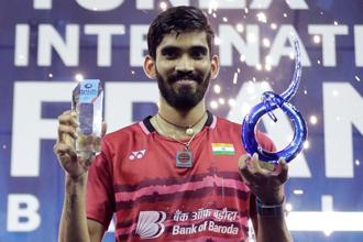 Kidambi Srikanth, who played his fifth Super Series final this season, became only fourth men's singles player to win four or more Super Series titles in a calendar year. Photo: AFP