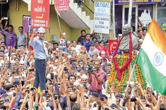 Hardik Patel leading a Patidar agitation in Ahmedabad in 2015. Both the Congress and BJP are attempting to woo the powerful Patel community ahead of Gujarat elections slated for December this year. Photo: AFP