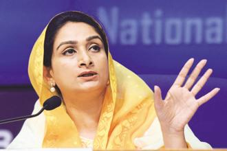Minister of food processing industries Harsimrat Kaur Badal. Photo: HT